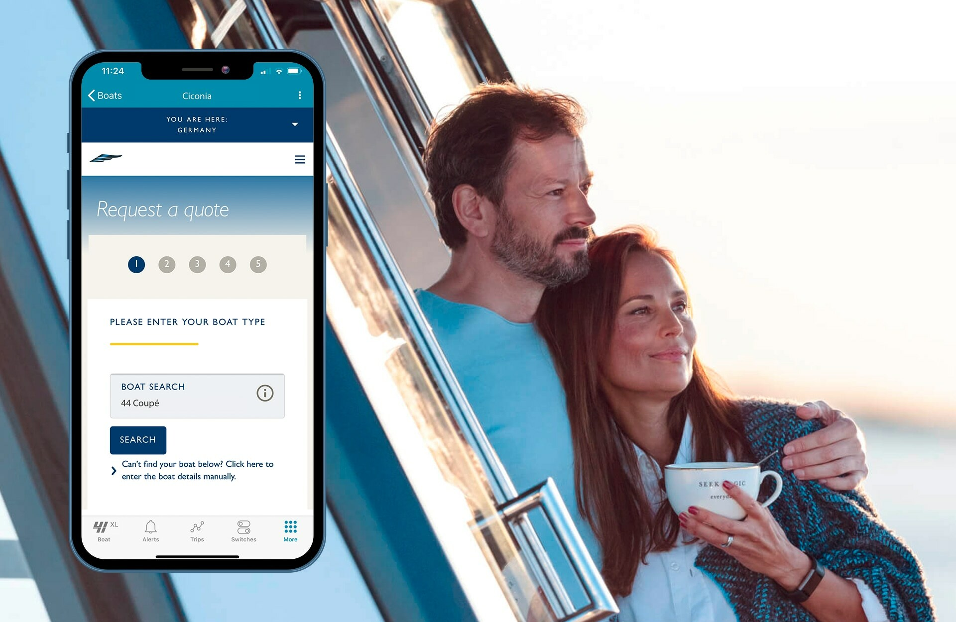 Insurance provider is integrated into the smartphone app making it easy to insure your FJORD power boat