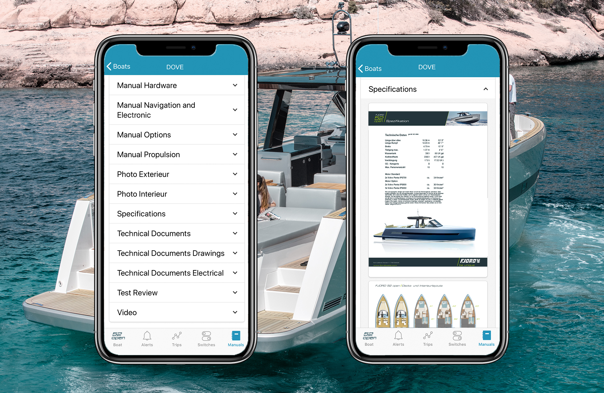 Access your boats manuals and technical documents with your smartphone