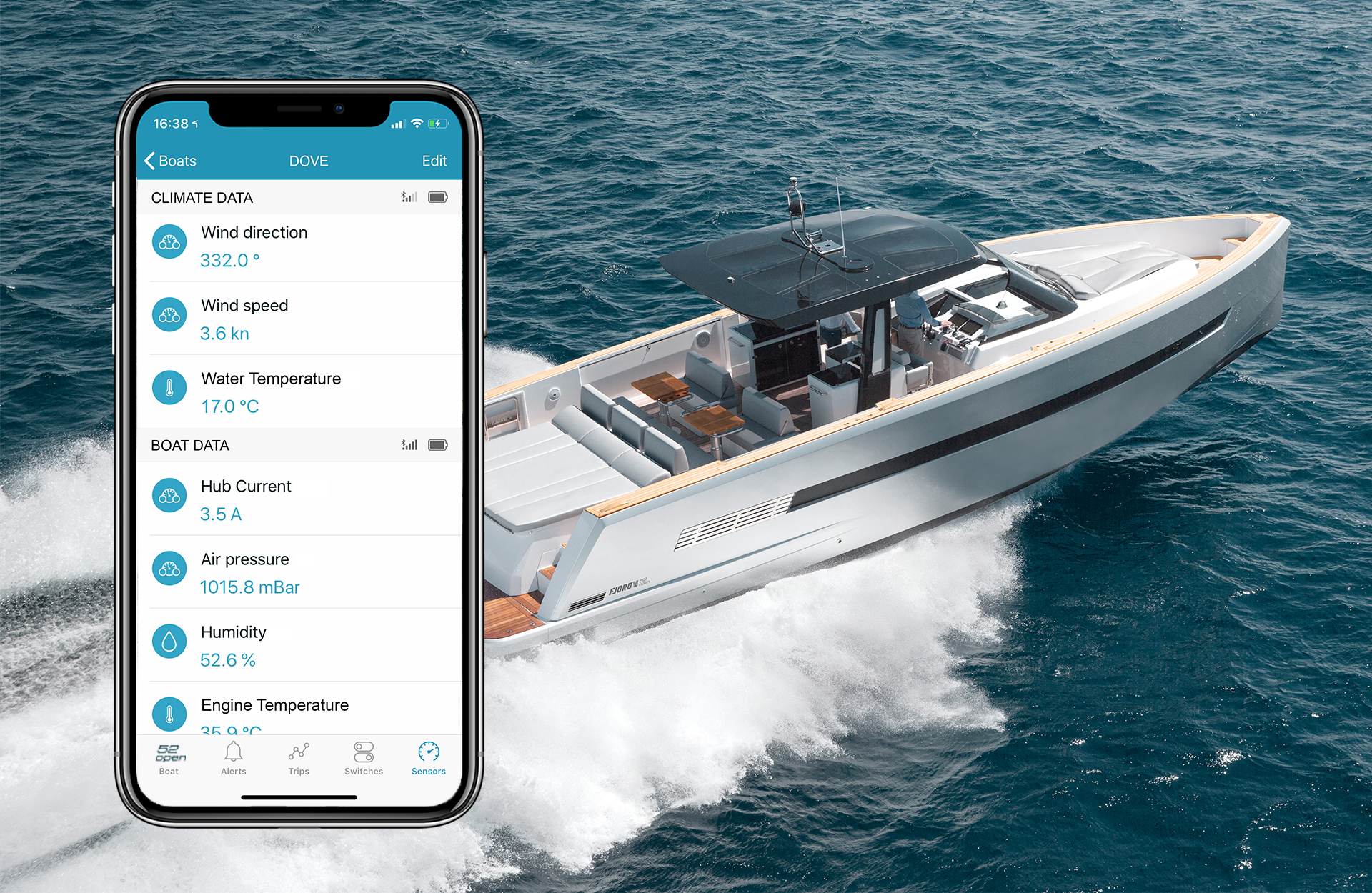 Access your yachts digital data from your smartphone FJORD motorboats are smart boats