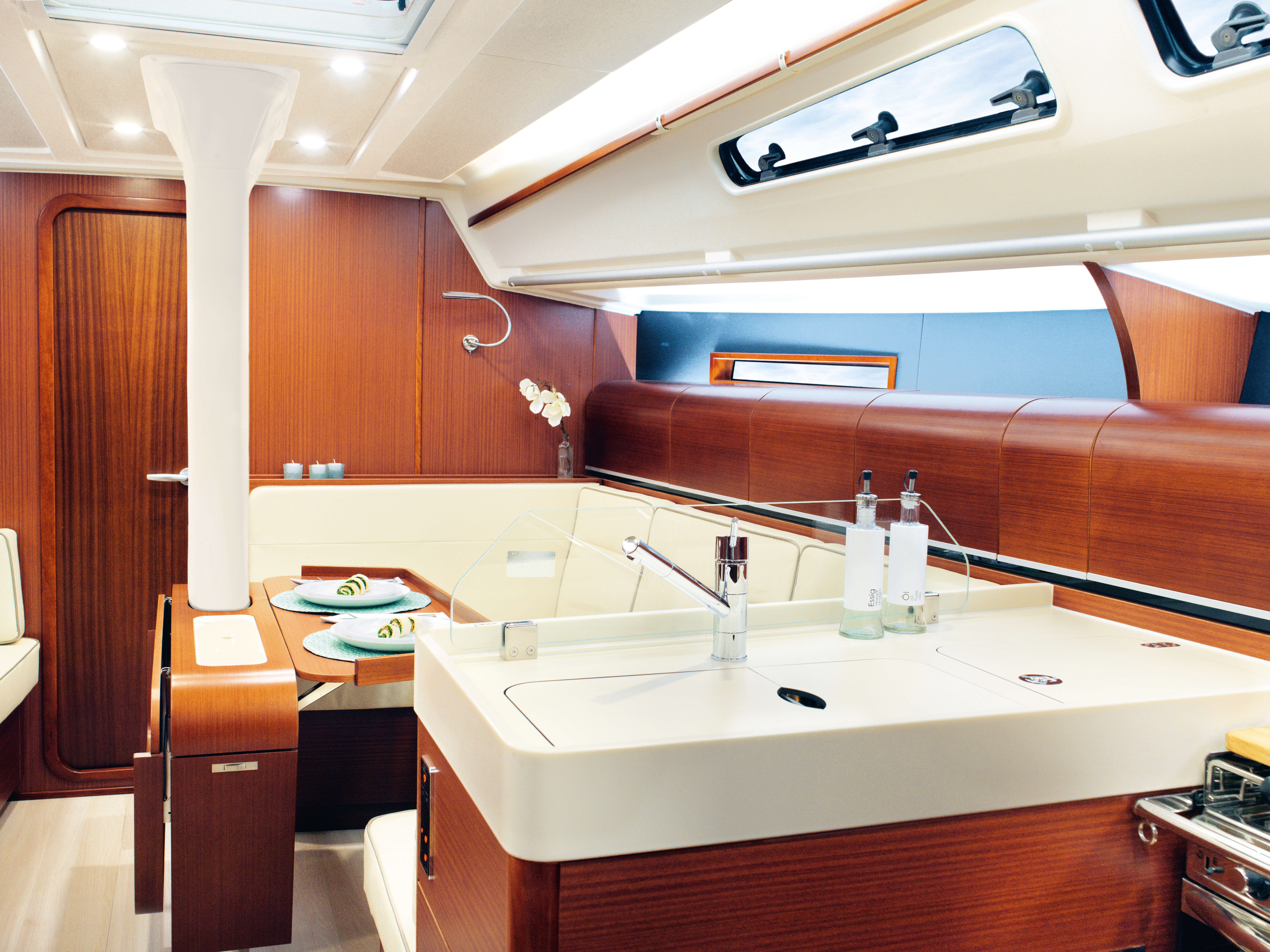 Dehler 42 Interior view pantry | sink cover, tap, foldable table | Dehler