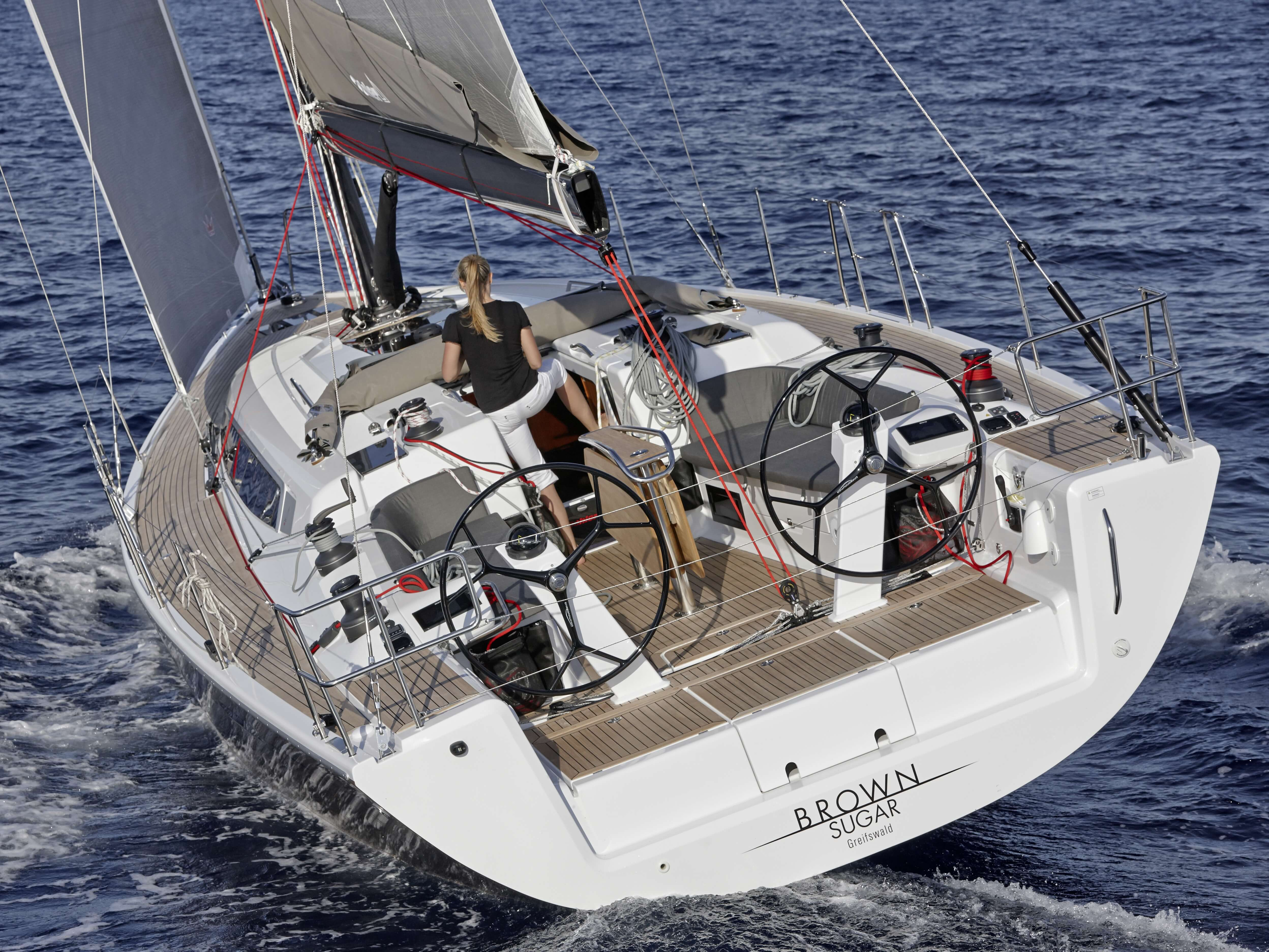 Dehler 46 Exterior Sailing | rear, cockpit, double steering wheel | Dehler