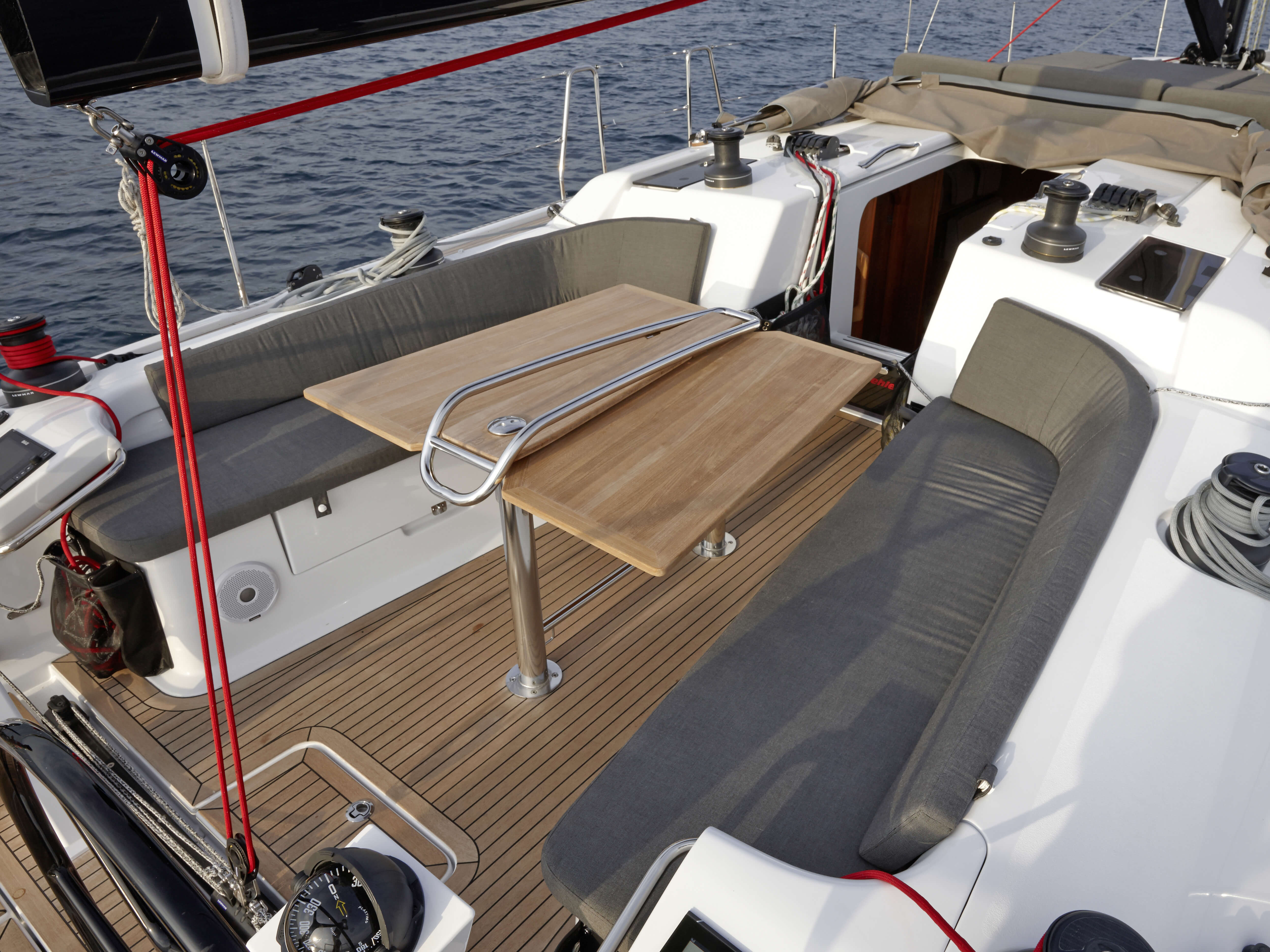 Dehler 46 Exterior at anchor | cockpit, cockpit table | Dehler