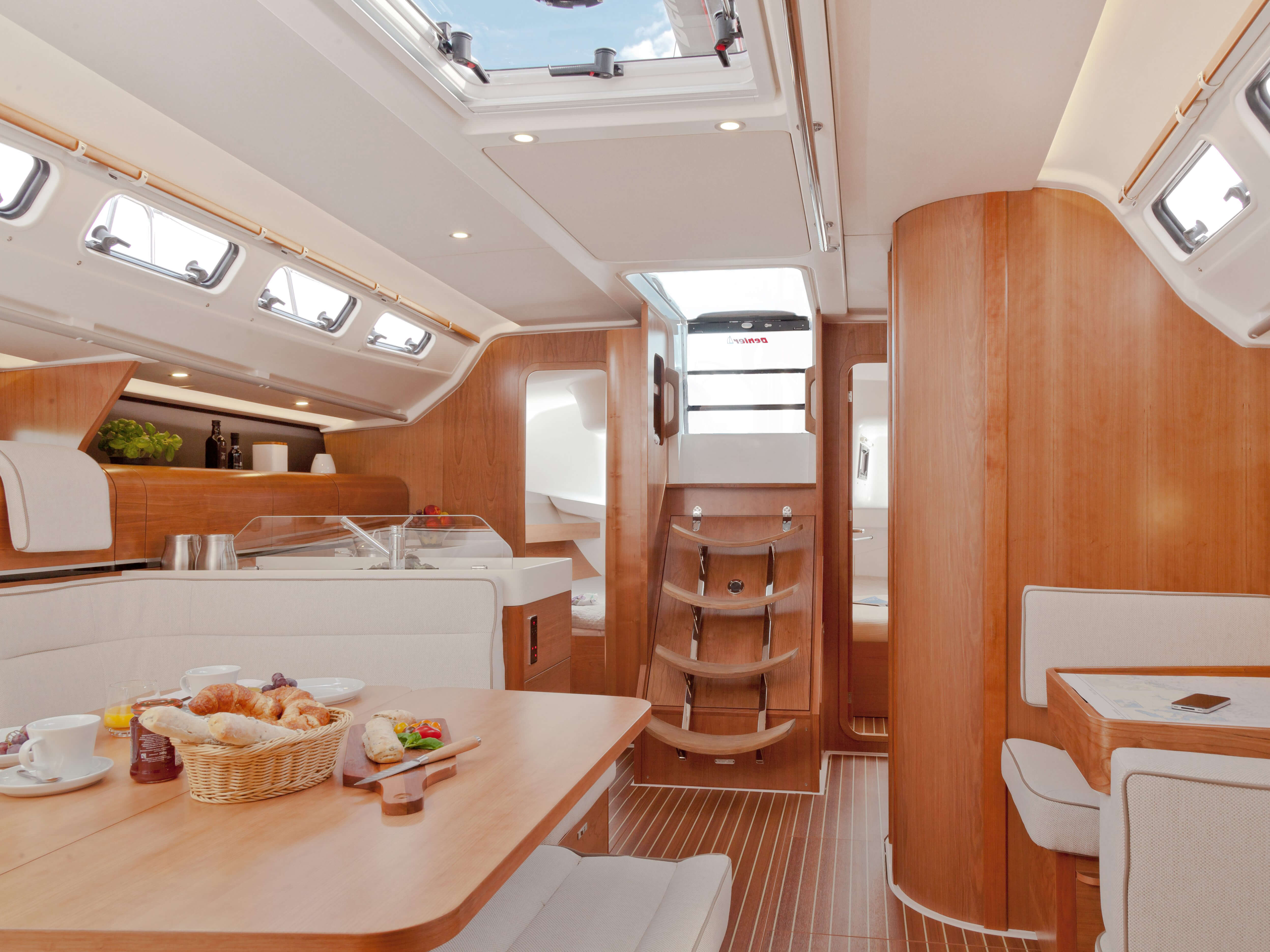 Dehler 46 Interior view lounge | sitting area, pantry, companion way | Dehler
