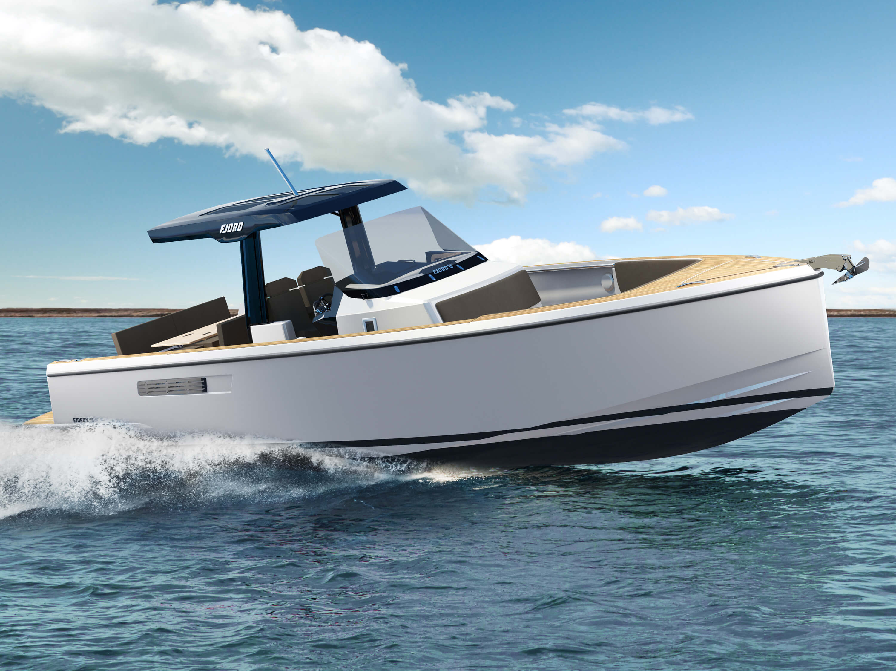 FJORD 38 open exterior | The V-shaped hull creates great stability, yet permits breathtaking dynamics. | Fjord