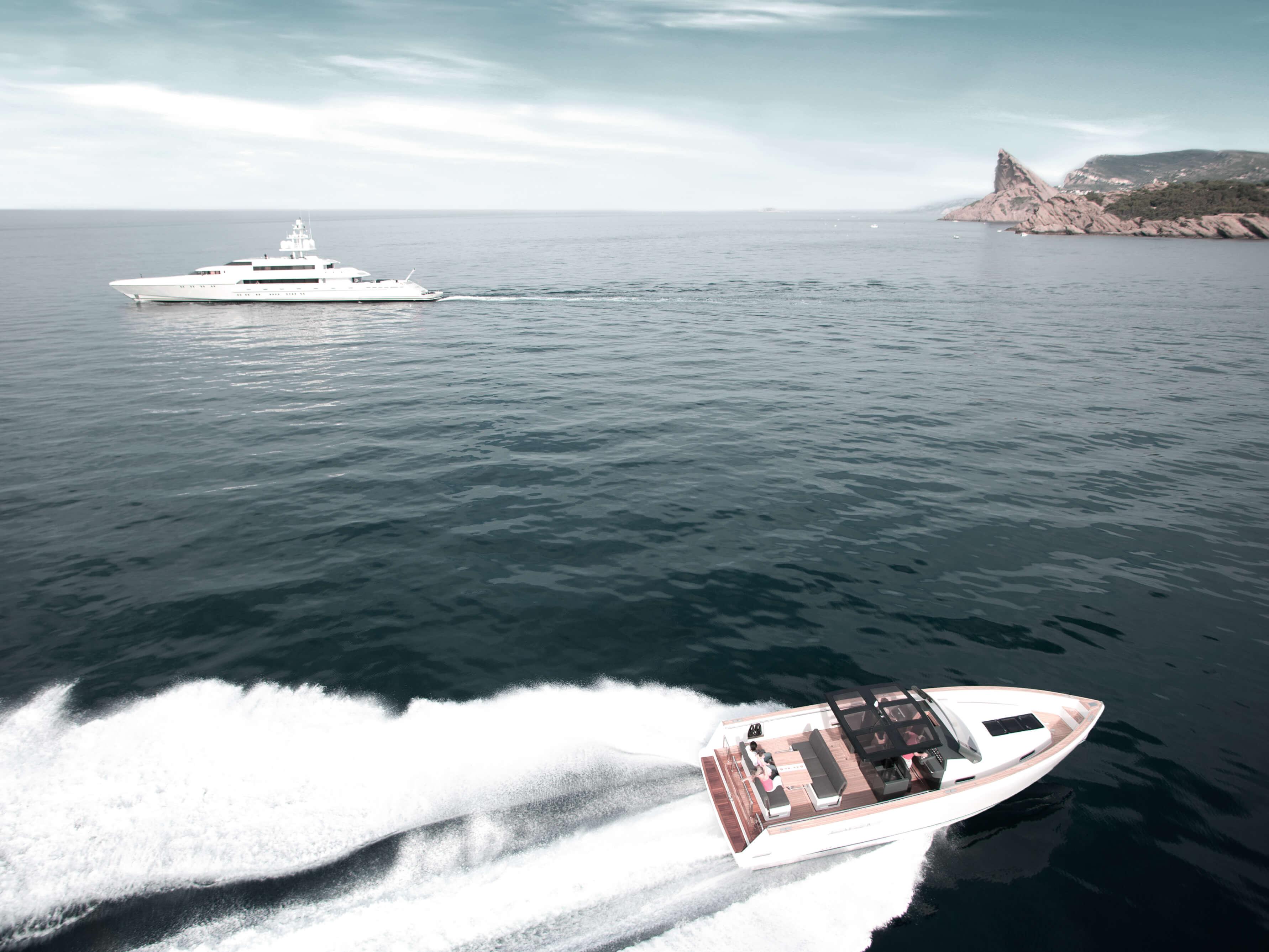 Fjord 40 open Außenansicht Fahrt | Cockpit, Lounge-Area, Teakdeck | Fjord