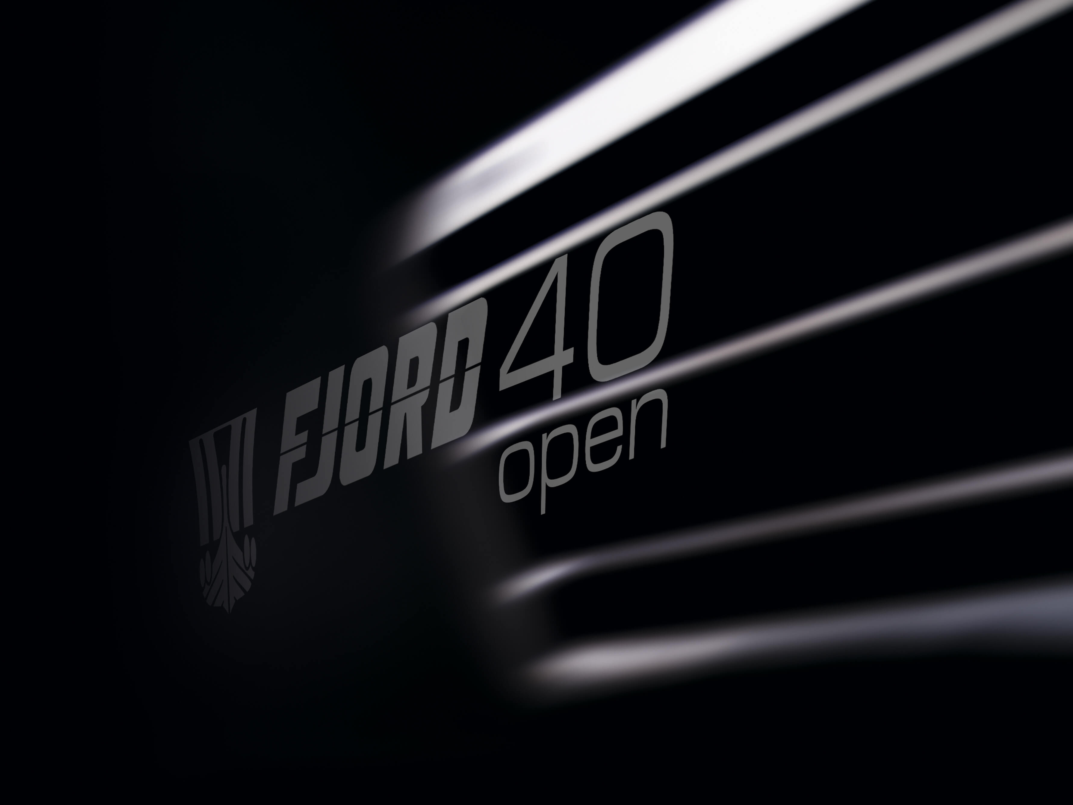 Fjord 40 open Exterior at anchor | logo | Fjord