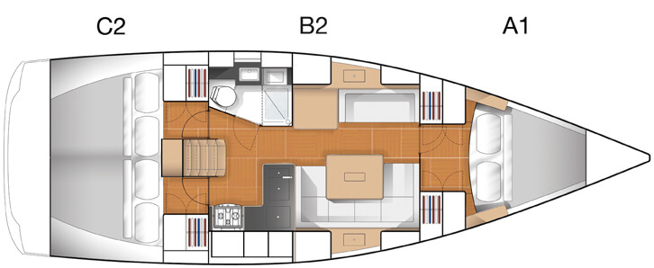 Hanse 375 Layout | Hanse