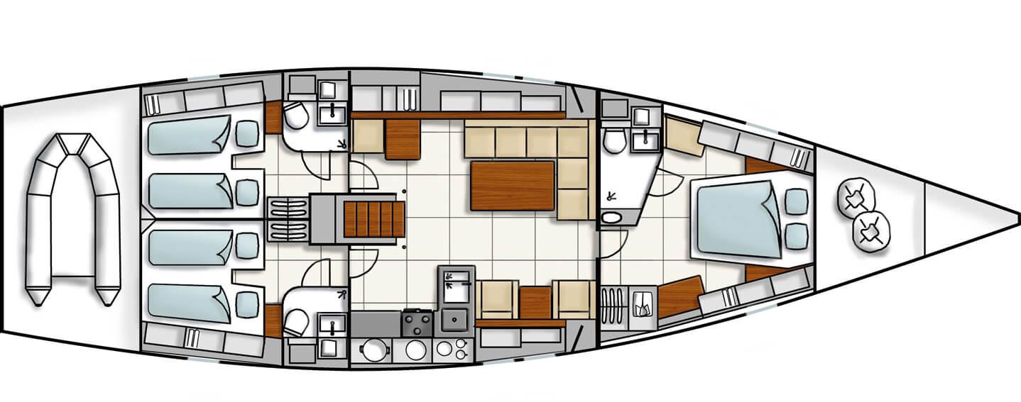 Hanse 540e Layout | Hanse