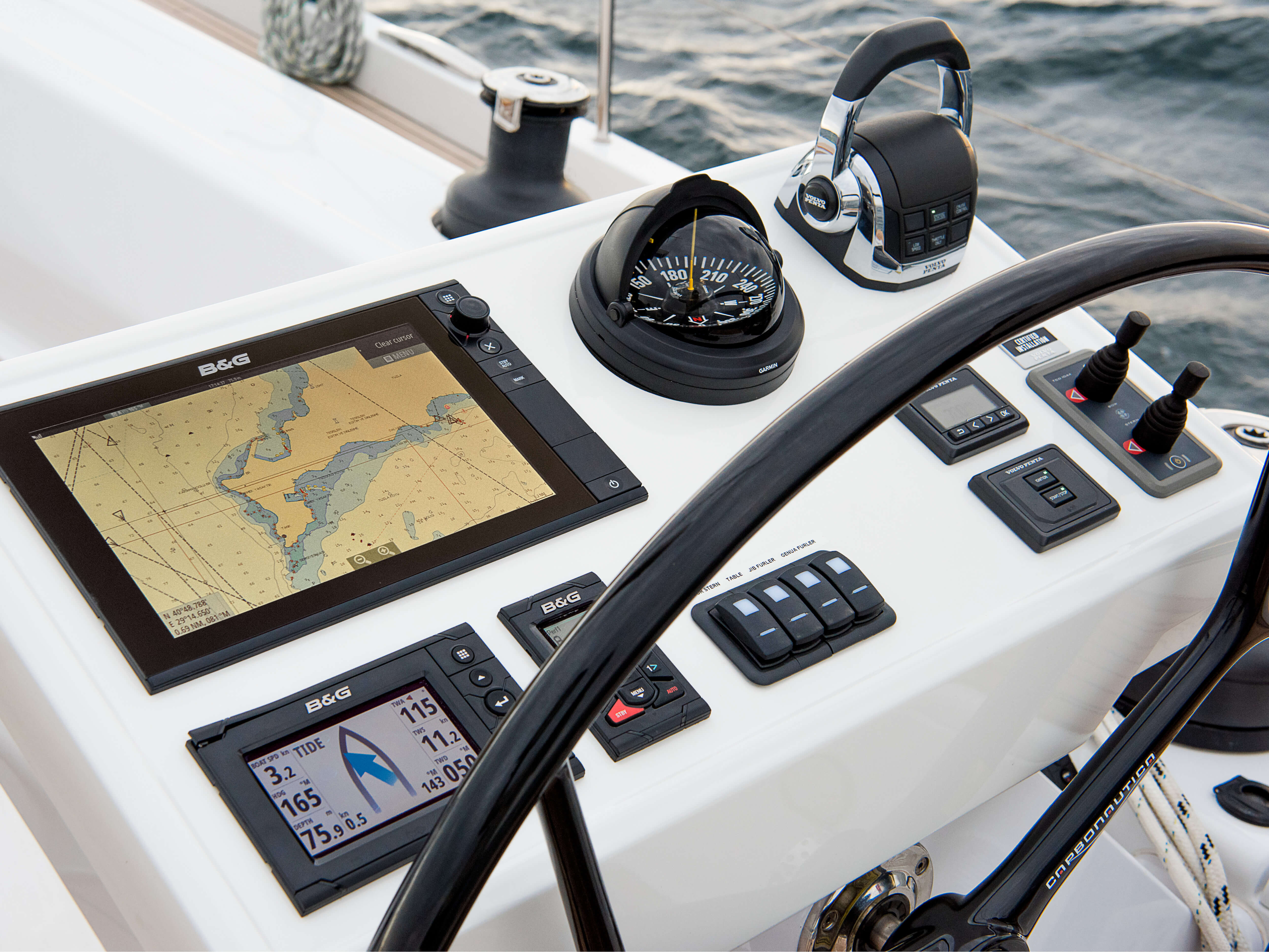 Hanse 588 Exterior at anchor | multi-function display, steering wheel, winch | Hanse