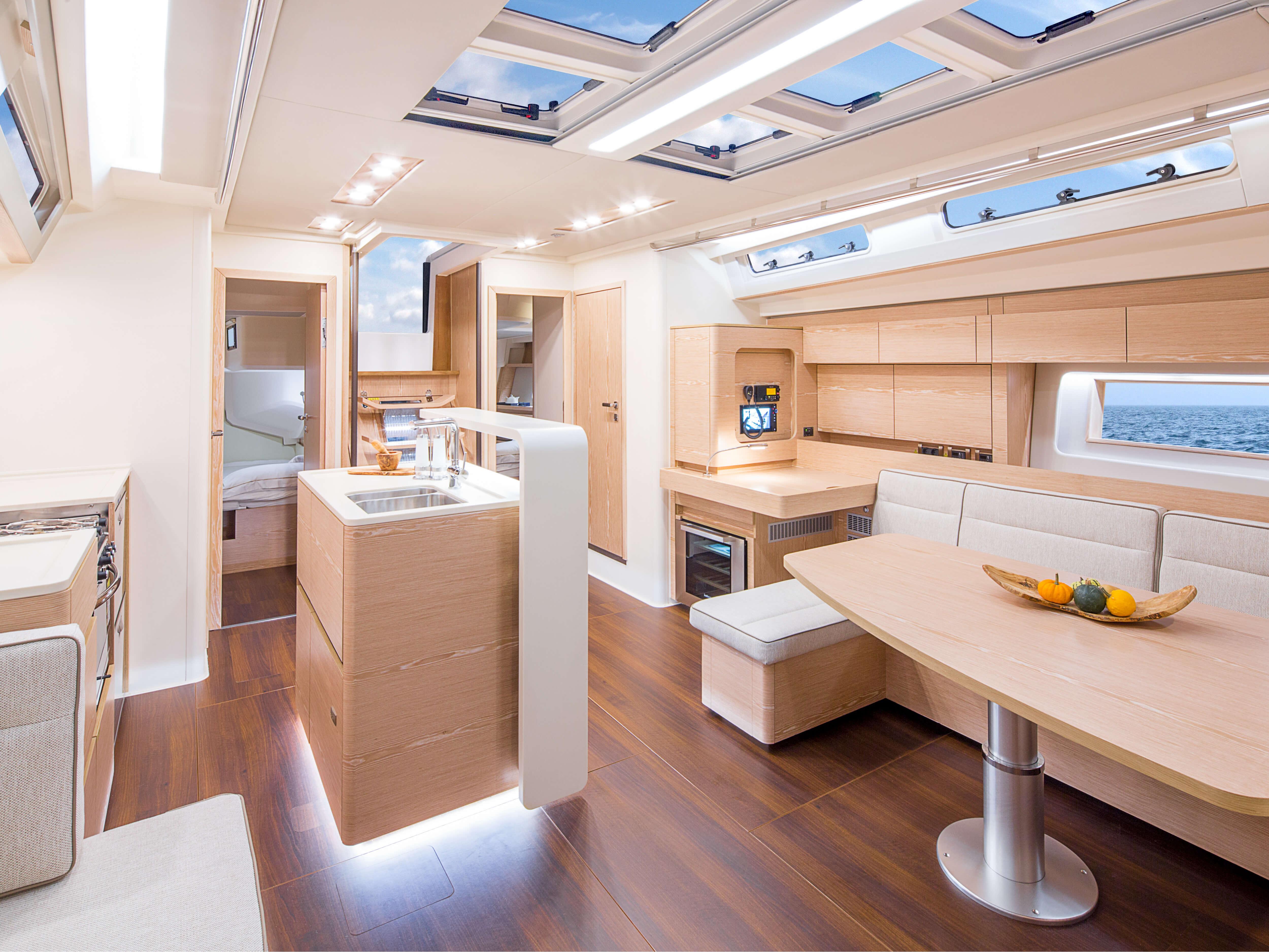 Hanse 588 | sitting area, pantry, aft cabin, companion way | Hanse