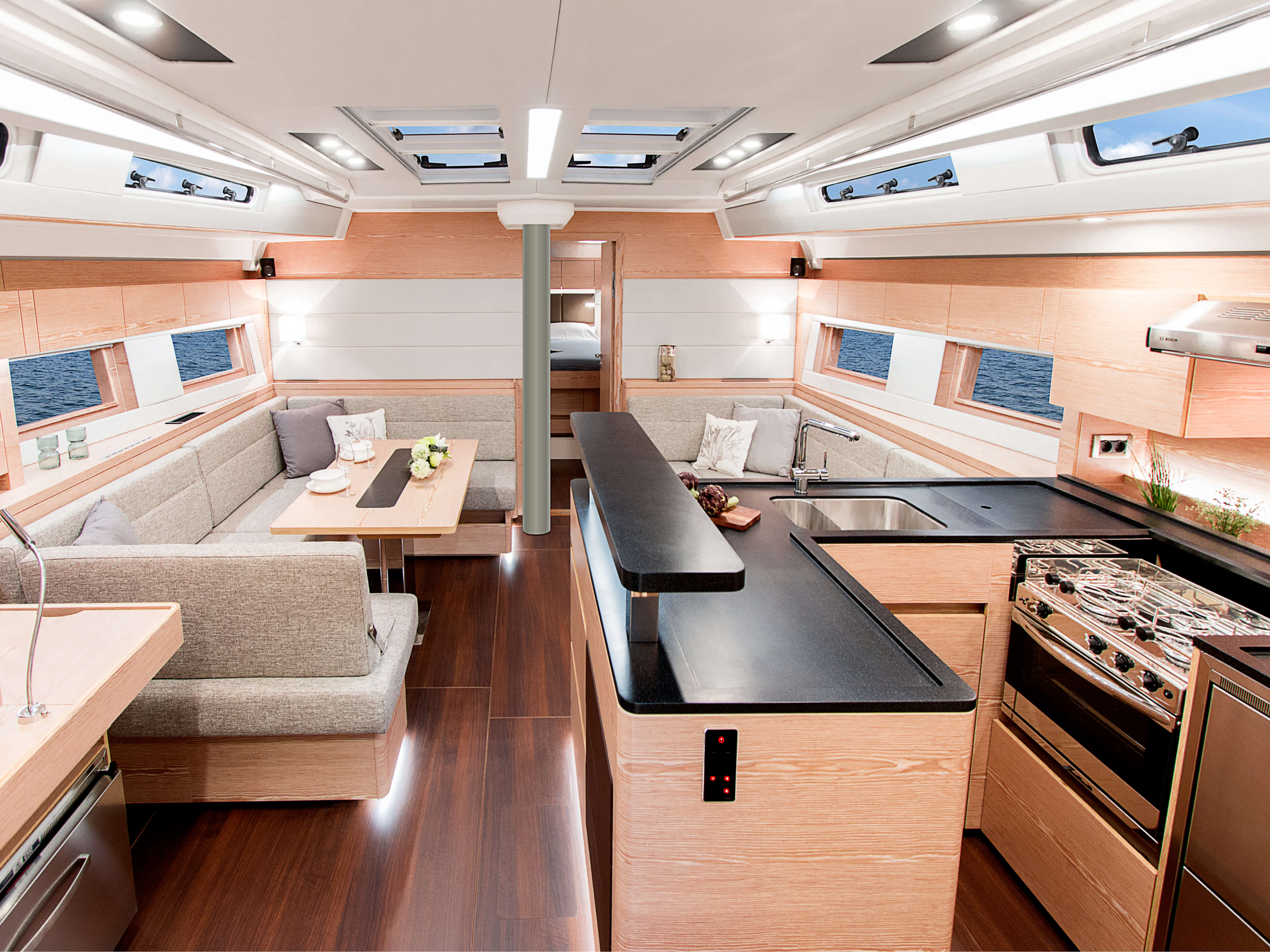 Hanse 588 | pantry, lounge area, foldable table, owner´s cabin | Hanse