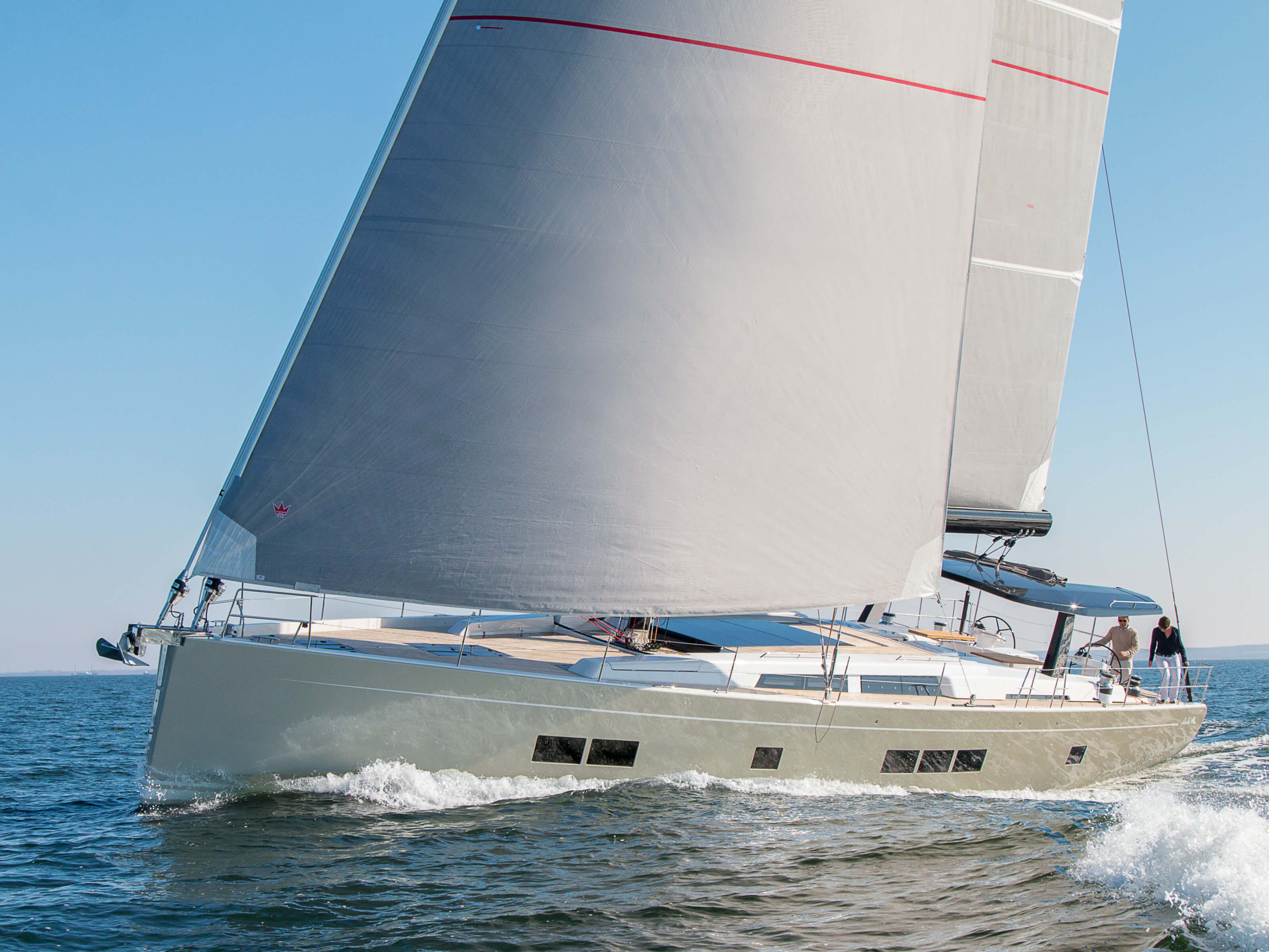 Hanse 675 | mainsail, Genoa, cockpit, double steering wheel, rail | Hanse