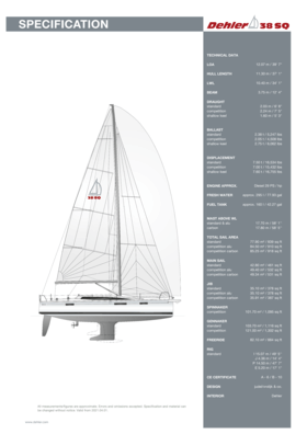 Dehler 38 SQ | Standard Specification | Dehler