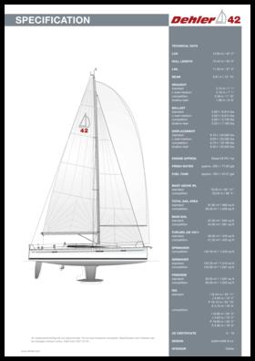 Dehler 42 Spécifications standard | Dehler