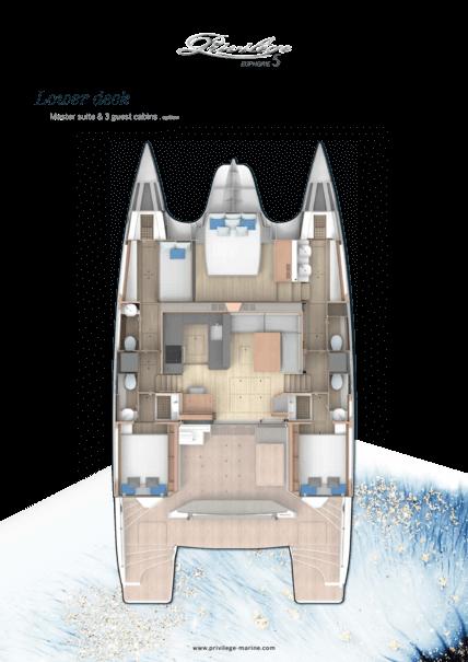 Privilège Euphorie 5 | Lower deck - Master suite & 3 guest cabins . option | Privilège