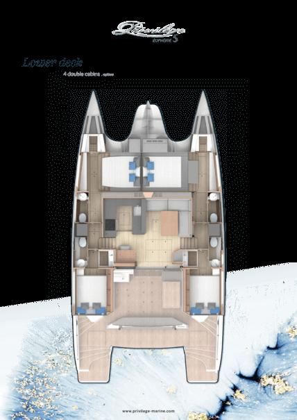 Privilège Euphorie 5 | Lower deck - 4 double cabins . option | Privilège