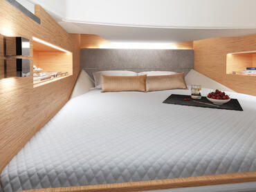 FJORD 38 open cabin | The large space and headroom under deck truly make you feel luxurious. | Fjord
