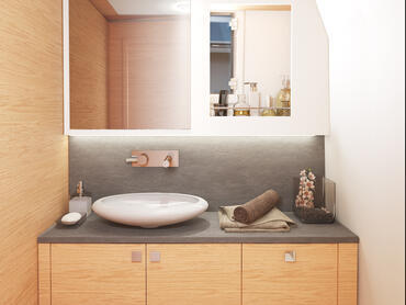 FJORD 38 open bathroom | Even in the bathroom, fine woods create a calm ambience. | Fjord