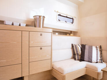 FJORD 40 open cabin | The cabin also features many clever storage spaces. | Fjord