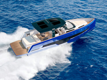 FJORD 41 XL | The world's largest T-top and the integrated bimini can shade an area up to 3.9m wide and 5.81m long. | Fjord