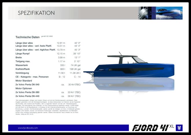 FJORD 41 XL | Standard Spezifikation | Fjord