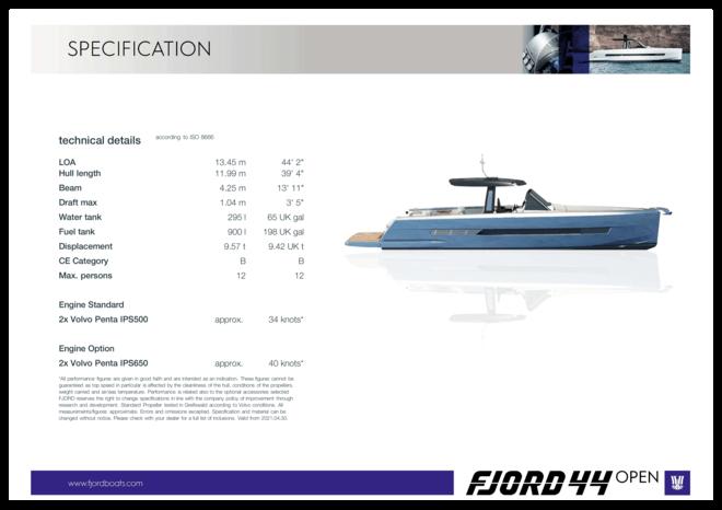 FJORD 44 open | Standard Specification | Fjord