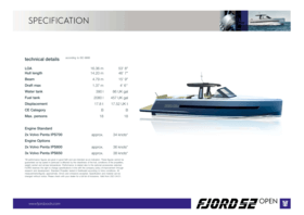 FJORD 52 open | Standard Specification | Fjord