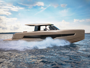 Stylish power boat speeding on the open water