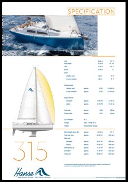 Hanse 315 Standard specification