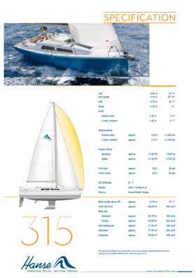 Hanse 315 标准规格 | Hanse