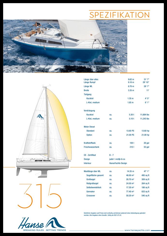 Hanse 315 Standard Spezifikation