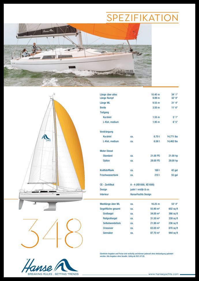 Hanse 348 Standard Spezifikation