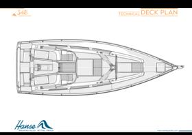 Hanse 348 Plano de la cubierta | Plano de la cubierta técnica | Hanse