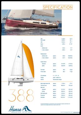 Hanse 388 Standard specification