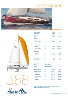 Hanse 388 Standard-Spezifikation