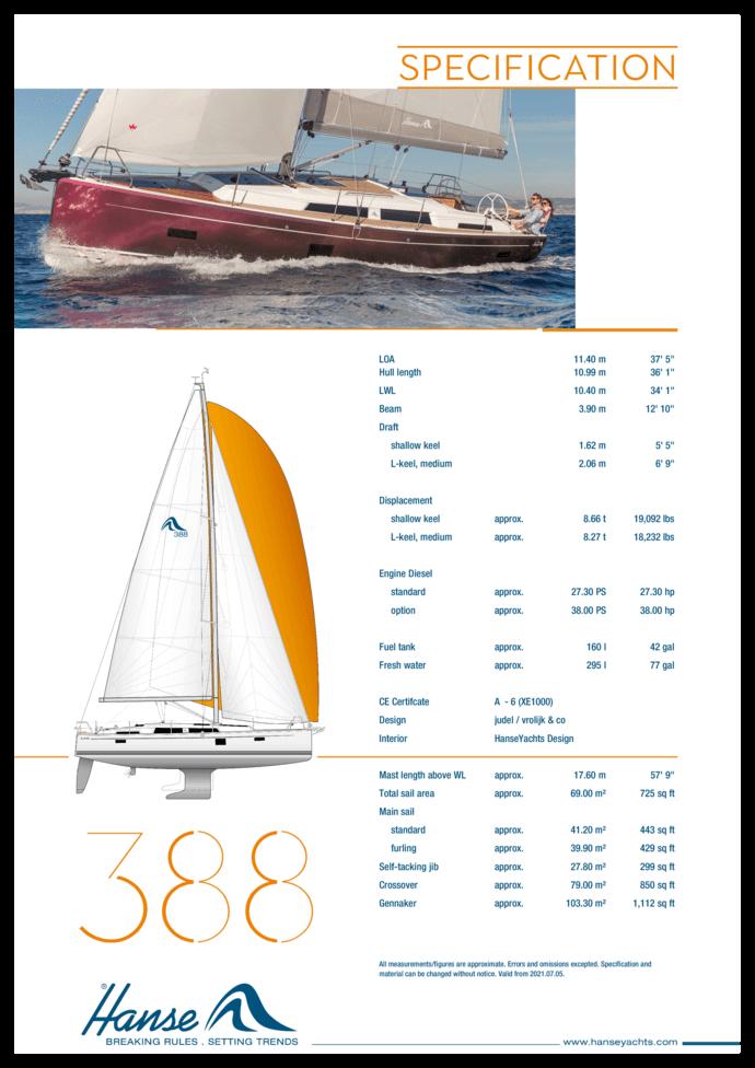 Hanse 388 Specifiche standard