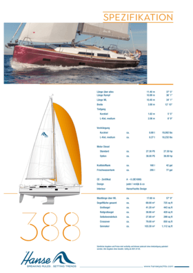Hanse 388 Standard Spezifikation   Hanse