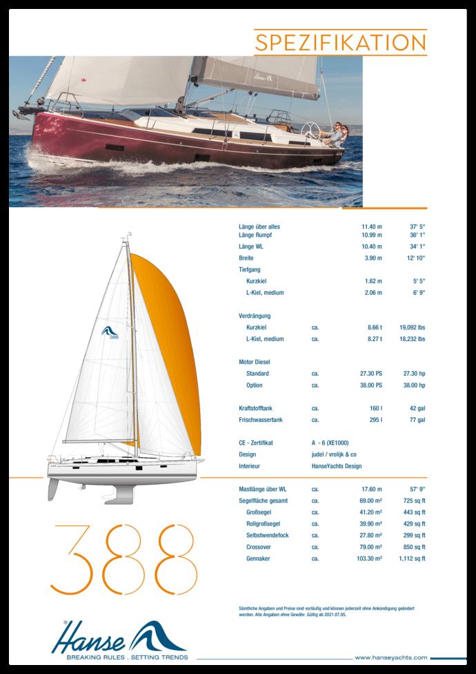 Hanse 388 Standard Spezifikation