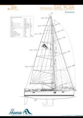 Hanse 388 sail plan | technical sail plan (standard) | Hanse
