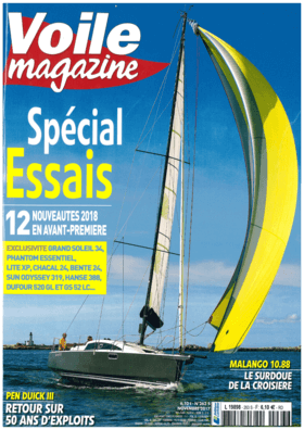 Hanse 388 Test review Voile magazine N°263 Novembre 2017 (FR) | Hanse 388 A certain character. This year, Hanse has seen things in a big way, very big indeed. The German shipyard presented not one, but four new models at Cannes: the 388, 348, 418 and 548. At the end of the show, it is on the youngest of the range that we embark, taking advantage of a good westerly breeze. The first impression is the space and the simplicity of the cockpit. Two sets of cleats in front of each helm station free the companionway from the usual piano tips. | Hanse