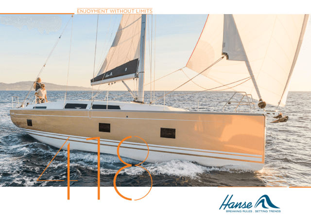 Hanse 418 Brochure | The HANSE 418 focuses on providing open views and far-reaching horizons: Large, innovative glass skylights on both sides of the companionway guide the sunlight directly below deck to create a wonderfully sunny ambience in the saloon and aft cabin. The saloon offers a beautiful view of the sun and sea. The spacious cockpit and the inviting bathing platform let you revel and relax in pure sunshine. | Hanse