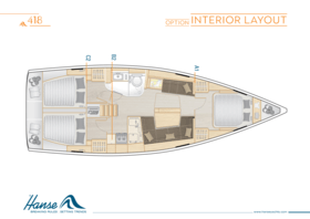 Hanse 418 Interior Layout | A1 / B2 / C2 - Option | Hanse