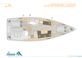 Hanse 418 Interior Layout | A1 / B2 / C3 - Option | Hanse
