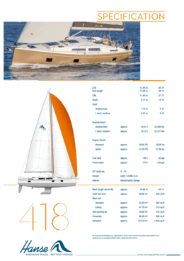 Hanse 418 Standard specification