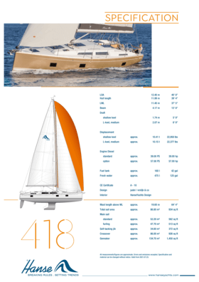 Hanse 418 Specifiche standard | Hanse