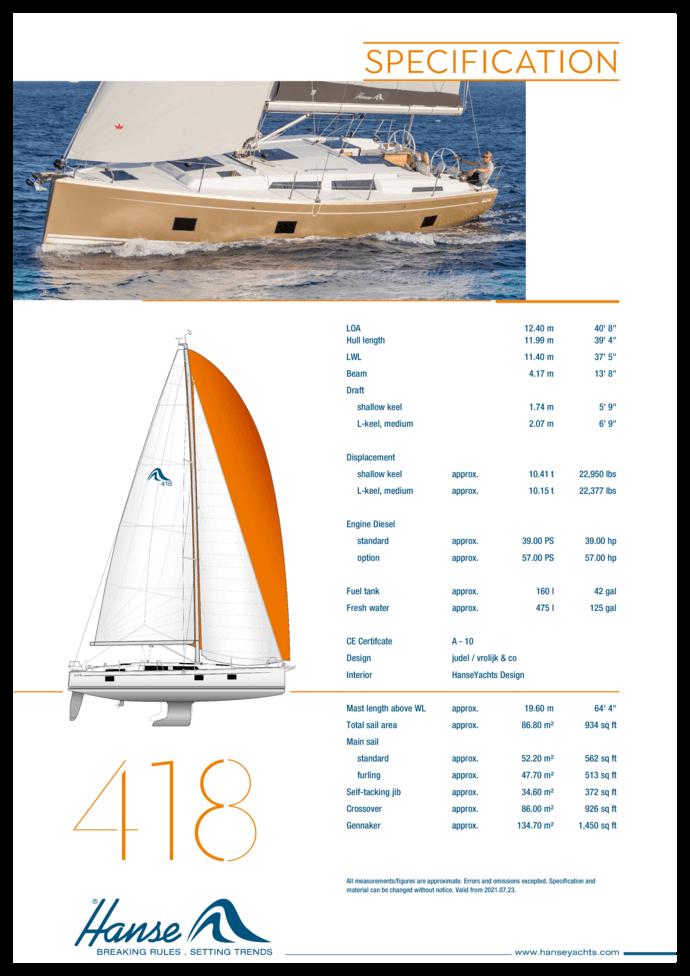 Hanse 418 Specifiche standard