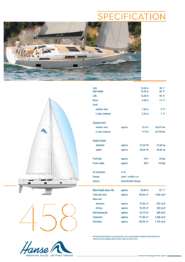 Hanse 458 Standard specification