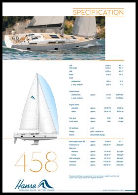 Hanse 458 Standard specification   Hanse