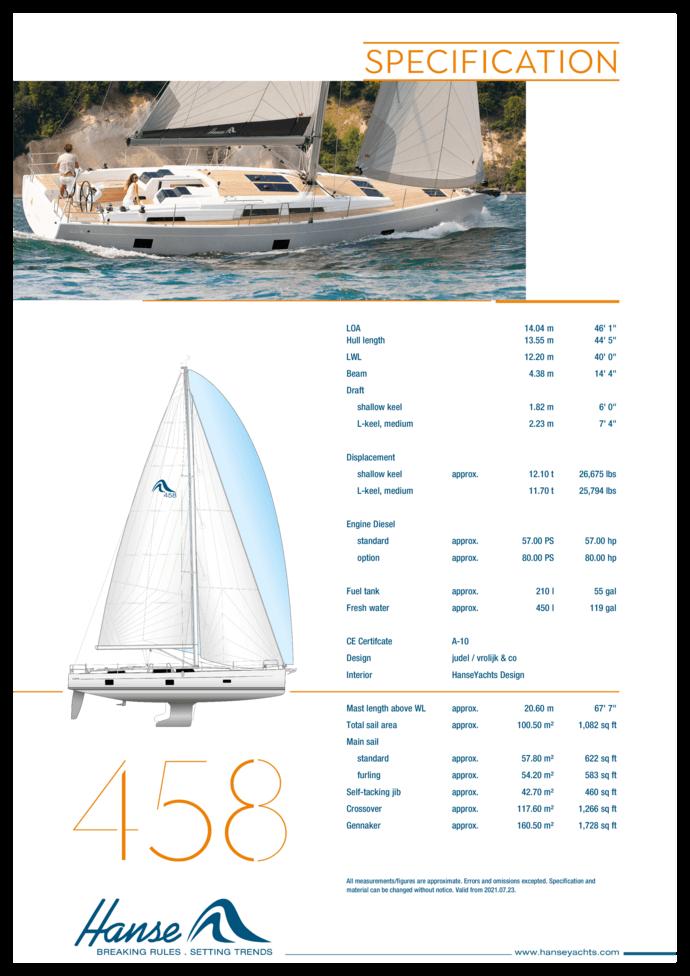 Hanse 458 Спецификация