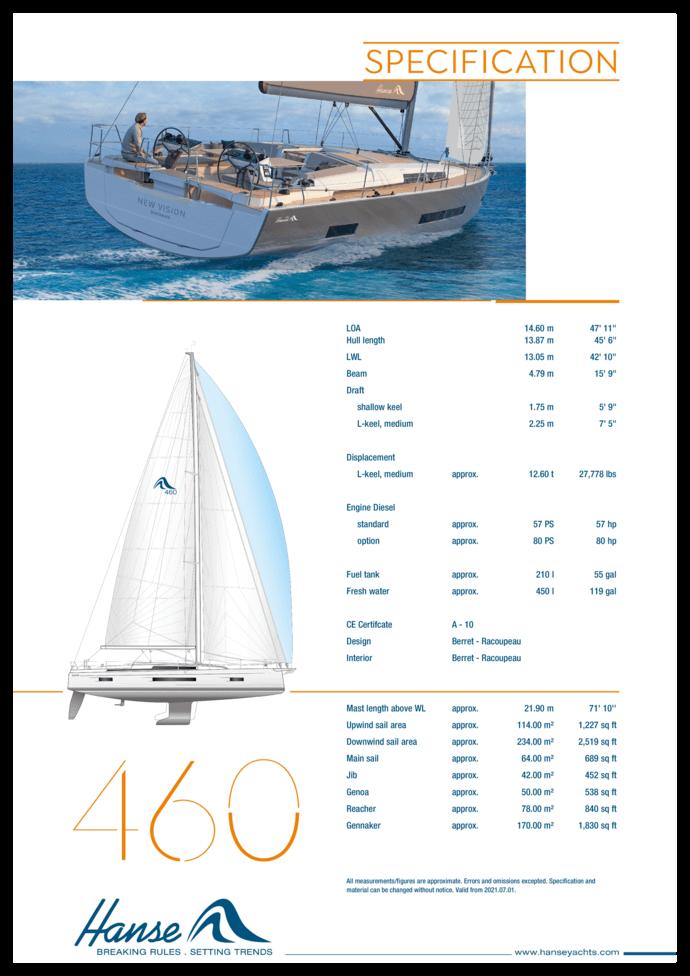 Hanse 460 Standard specification